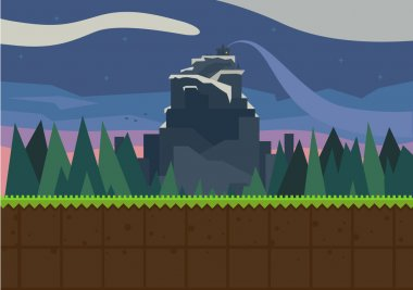 Forest and fortress. Vector flat background for the game. stock vector