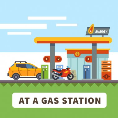 Car and motorcycle at a gas station