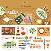 Jídelní stůl s pokrmy v pohledu shora