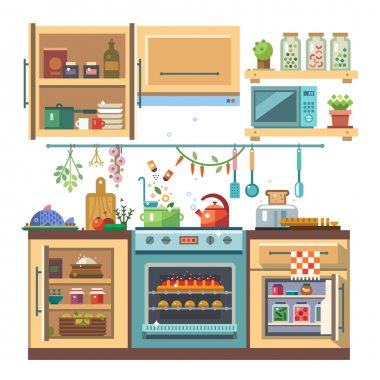 Home kitchenware, food and devices in color