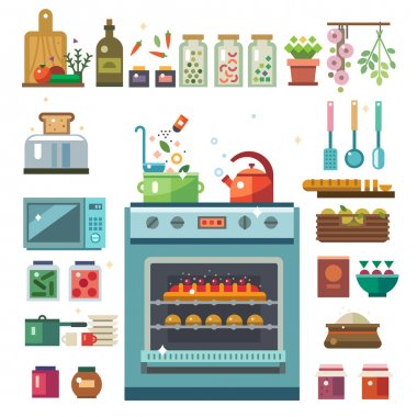 Home kitchenware, food and devices in color vector flat illustrations