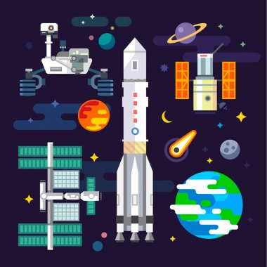 Spacecraft and space industry elements in vector flat illustration