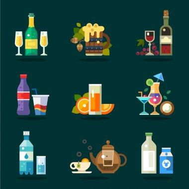 Vector drink icon set