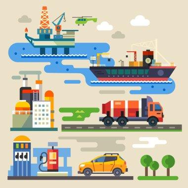 Oil rig, transportation, car refueling