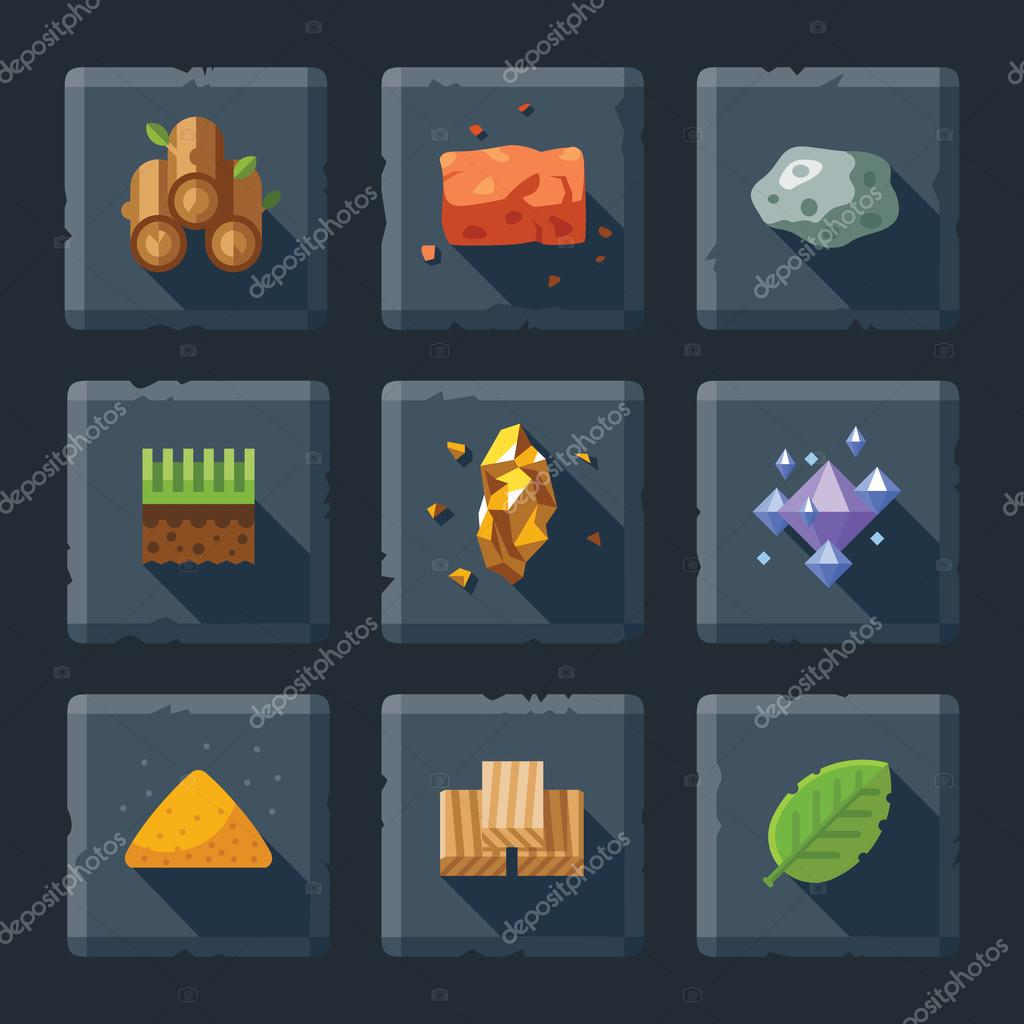 Cartoon vector flat relief game icon set on stone