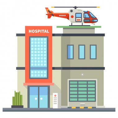 Building of hospital. Helicopter on roof