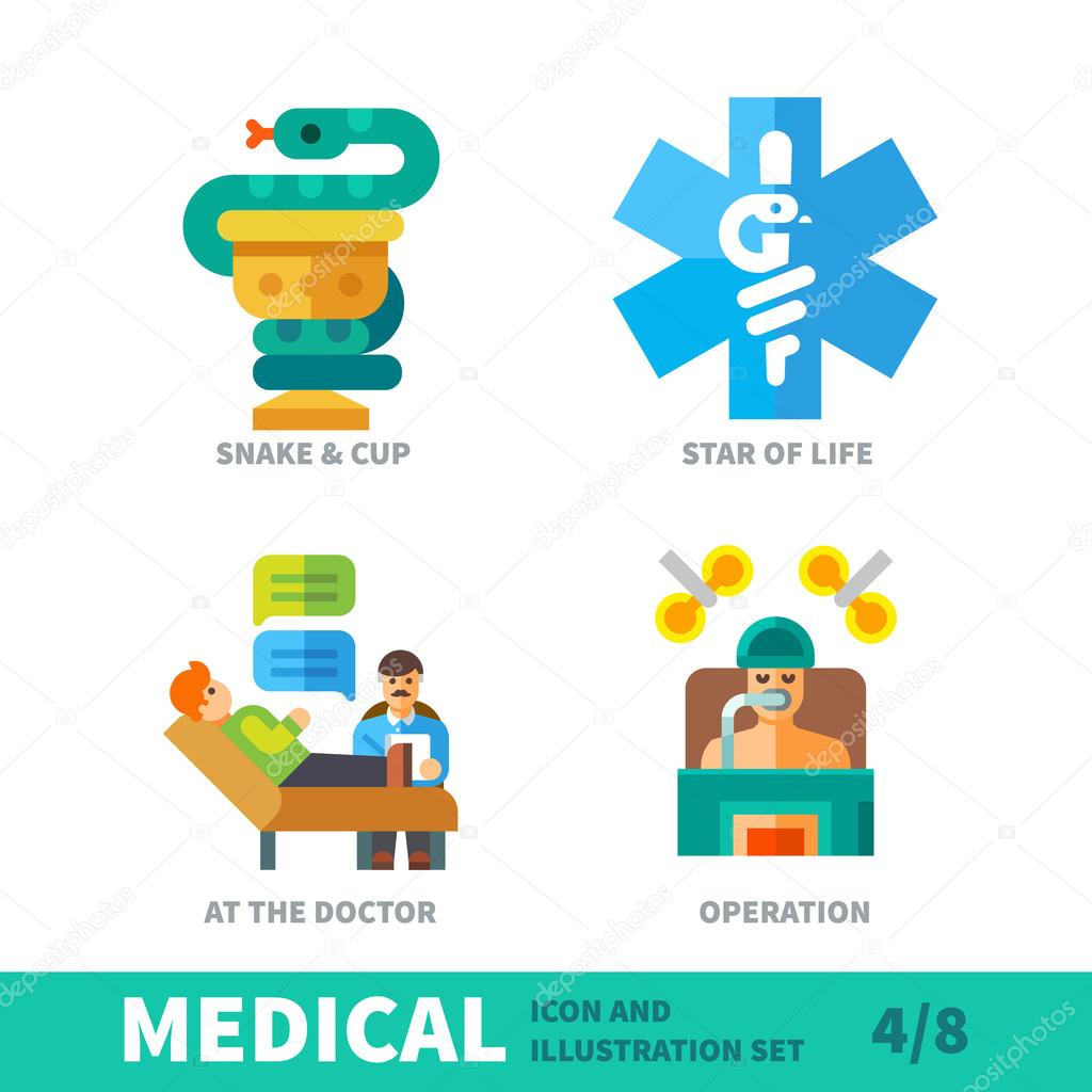 situation in human therapy in medical icon set