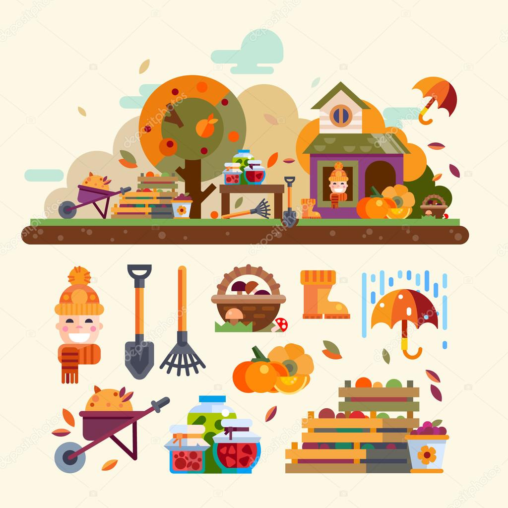 Autumn landscape and objects for garden