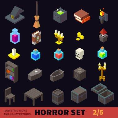 Isometric horror flat vector icon set.