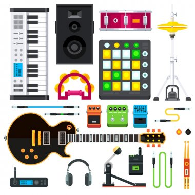 Rock and pop music instruments.