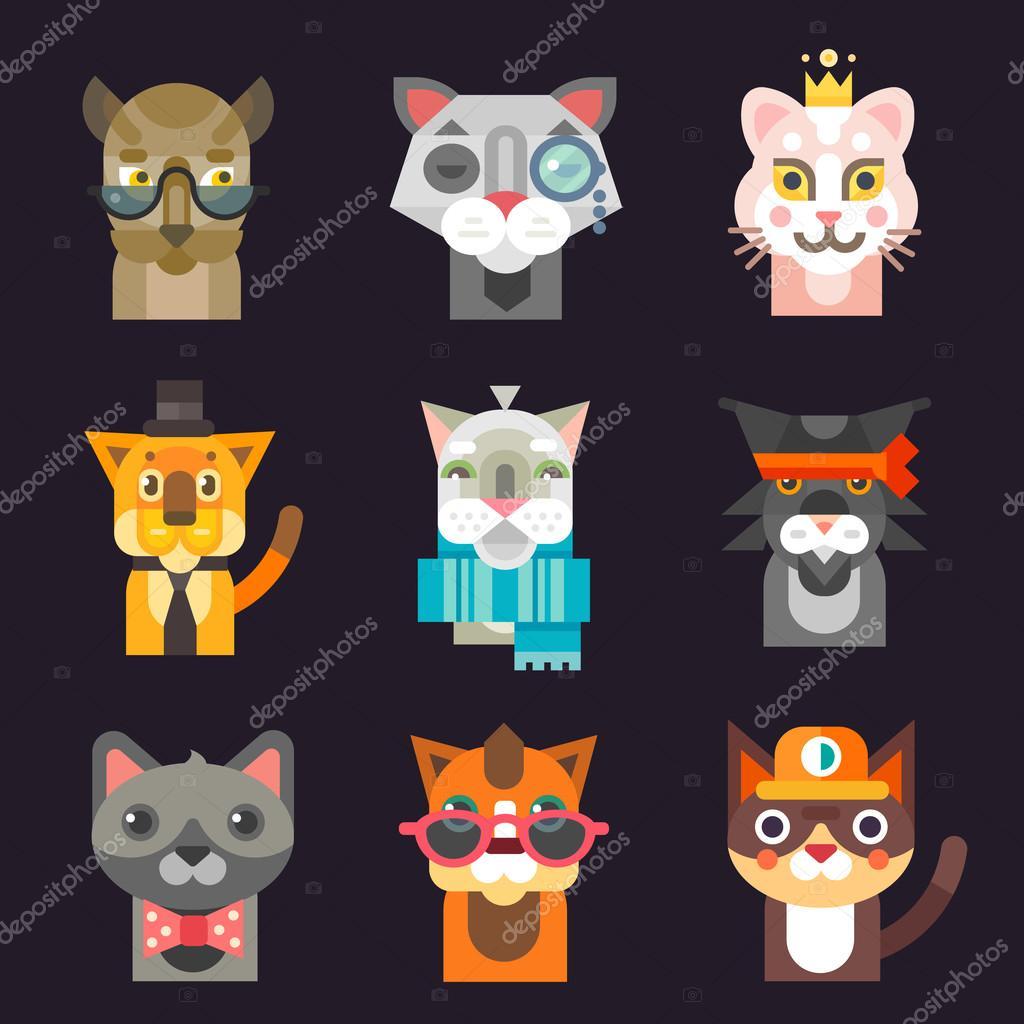 Cute cat avatar illustration set.