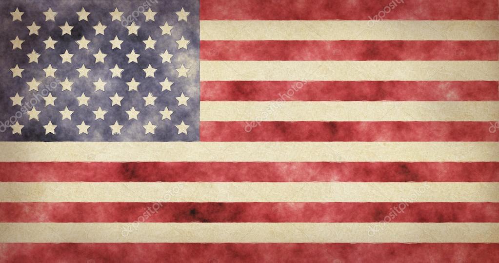 Amerikan Bayrağı Sulu Boya Boyalı Resimde Ulusal Bayrak Abd Stok