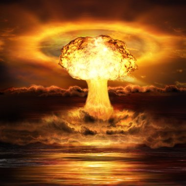Powerful explosion nuclear bomb in ocean. Nuclear war. A high re