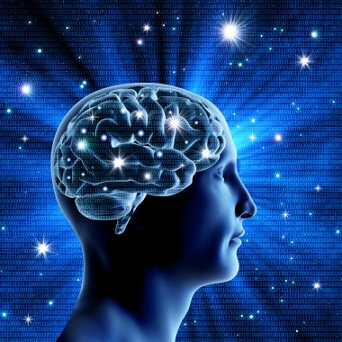 Human brain on a blue background with bright stars. Bright flash
