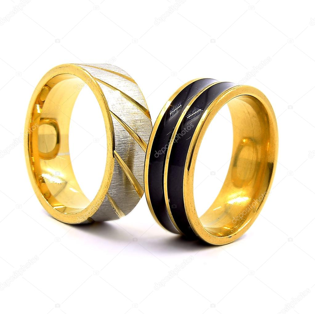 Wedding rings gold, silver, and black and silver — Stock Photo ...
