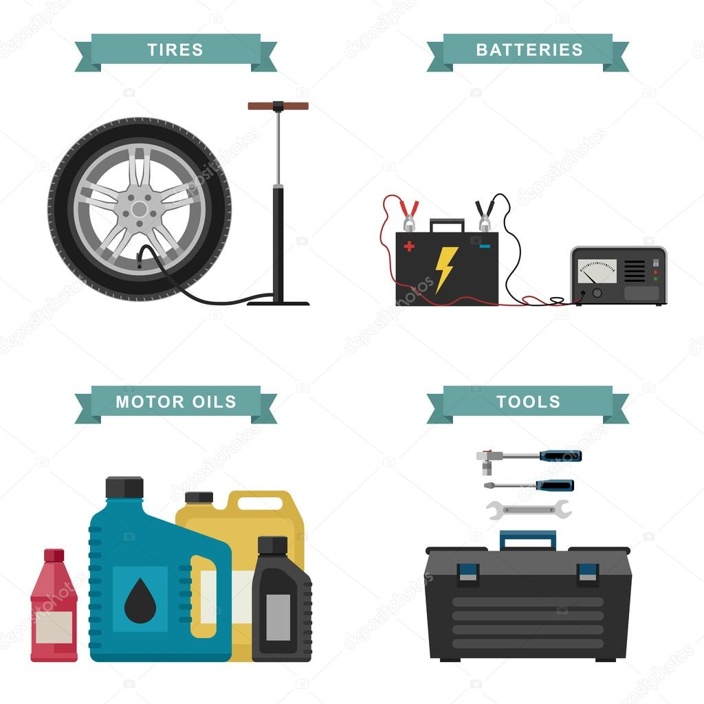Auto-Teile-flach-Symbole — Stockvektor © bolotoff #102758482