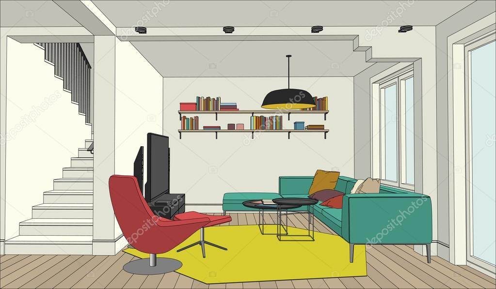 Color Drawing Of The Interior Stock Vector Bolotoff