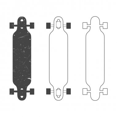 Longboard silhouettes and line drawings. Isolated on white. stock vector