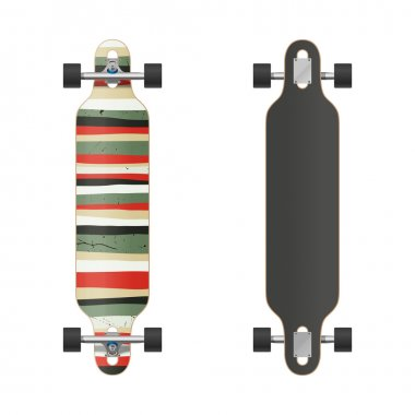 Vector illustration of the two sides longboard. Isolated on white. stock vector