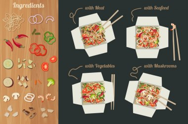 Chinese noodles with ingredients.