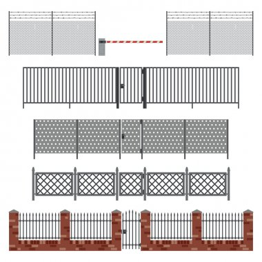 Metal fences and gates.