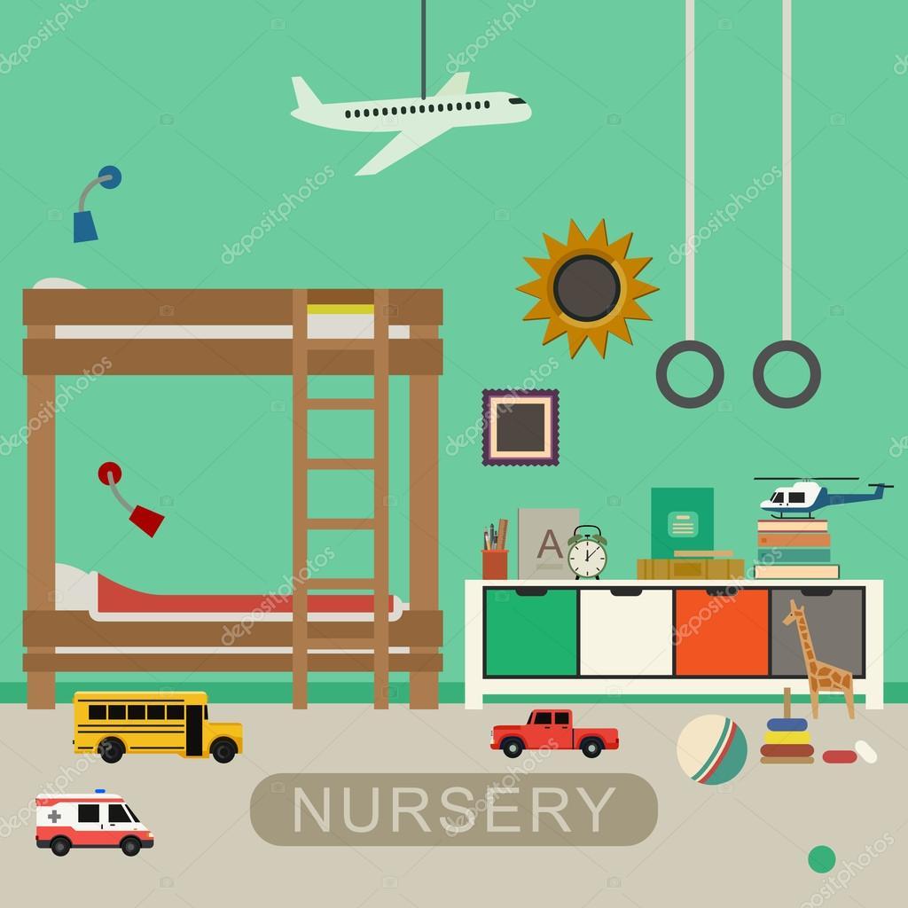 Interior de habitación de bebé vivero — Archivo Imágenes Vectoriales ...