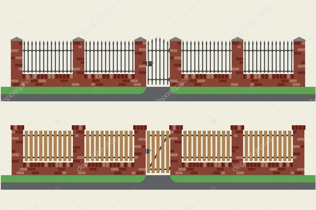 Metal y cercos de ladrillo con madera archivo im genes for Cerco illustratore