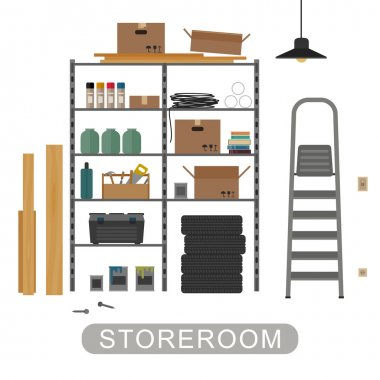 Storeroom interior on white background.