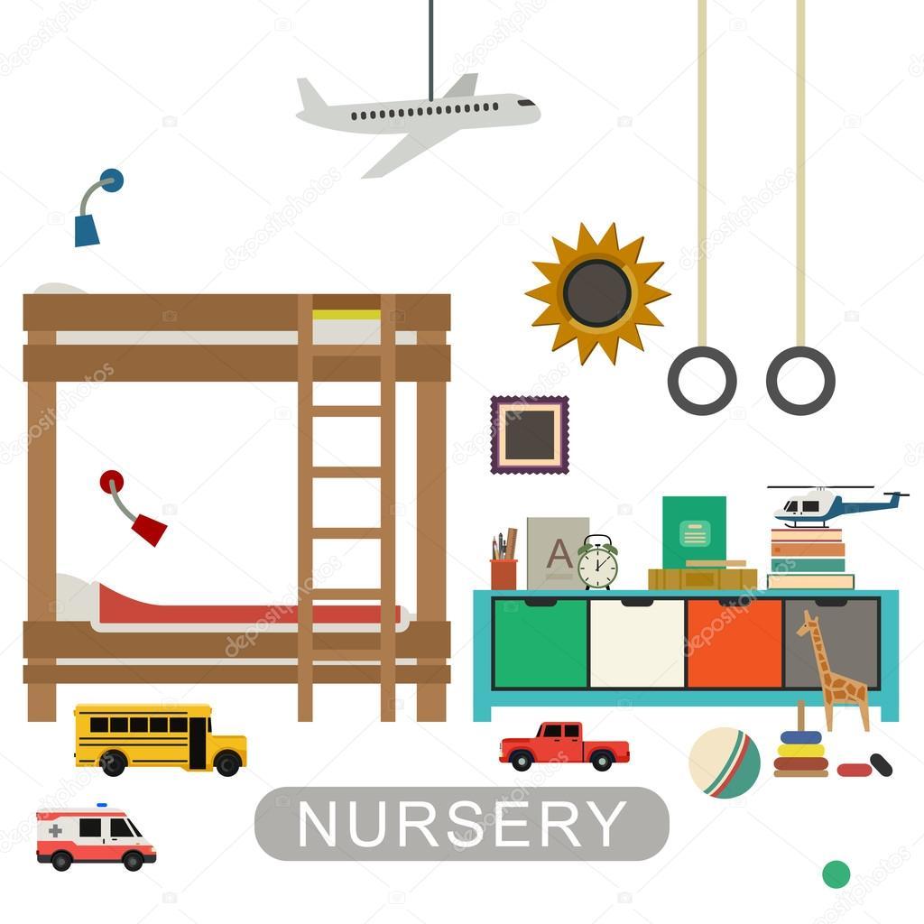 interior del cuarto del bebé — Vector de stock © bolotoff #93358902