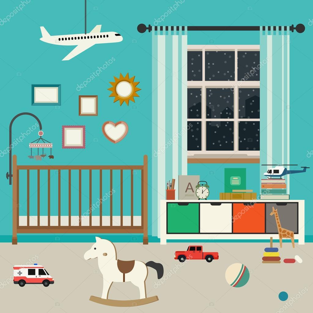 interior del cuarto del bebé — Vector de stock © bolotoff #95167748