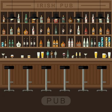 Bar interior with counter.