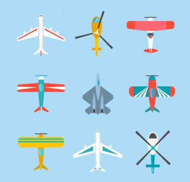 Color airplanes and helicopters icons set, top view, vector illustration stock vector