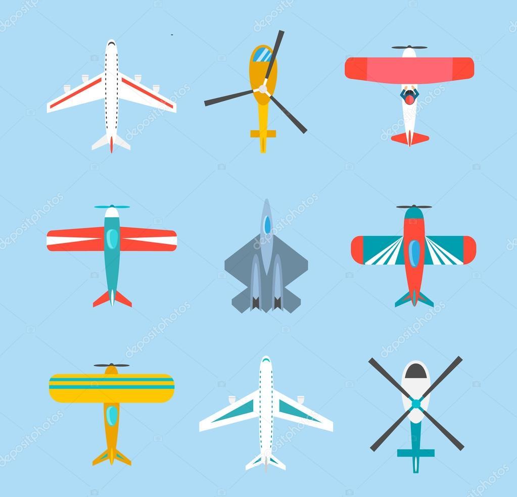 Conjunto de iconos de aviones y helicópteros de color — Vector de ...