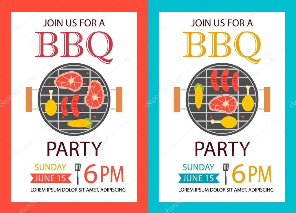 party-einladung. bbq-vorlage flyer — stockvektor #73811017, Einladung
