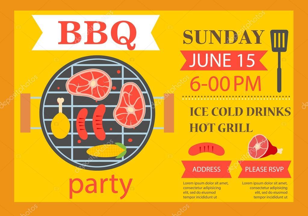 party-einladung. bbq-vorlage flyer — stockvektor #73811021, Kreative einladungen