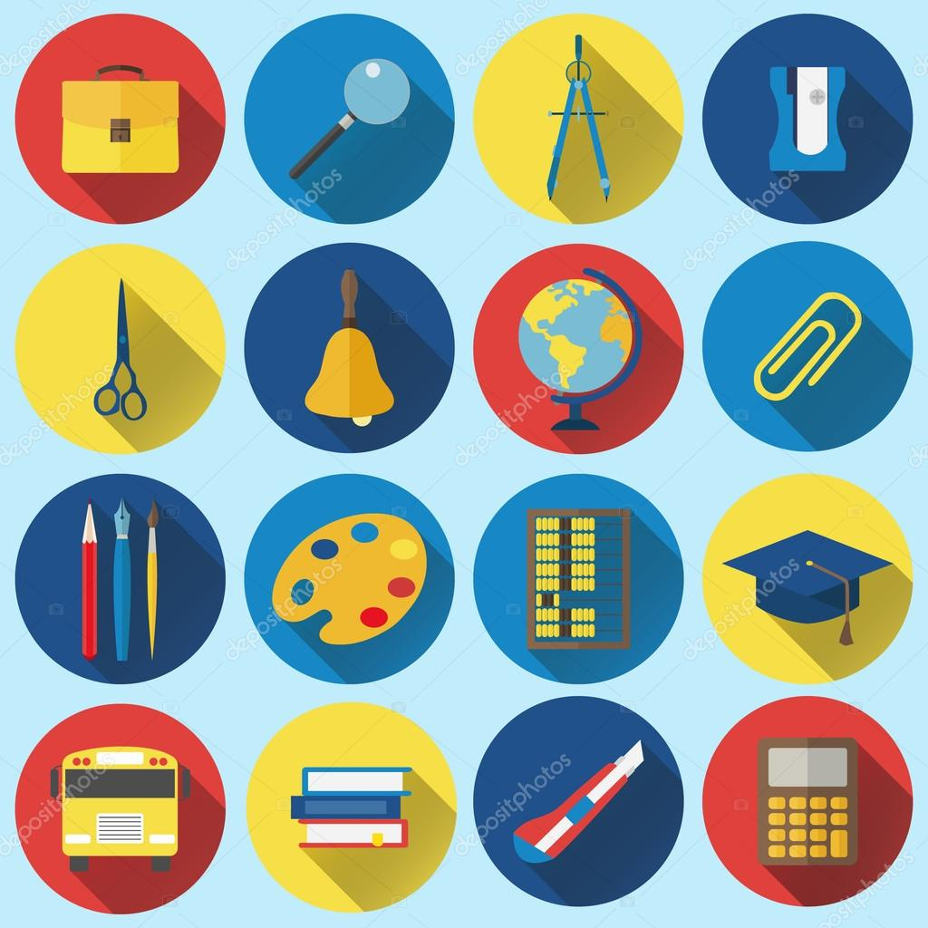 School and Education Flat Icons with long shadow