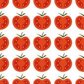 Bezešvé vzor s čerstvých červených a žlutých cherry rajčátky na bílé