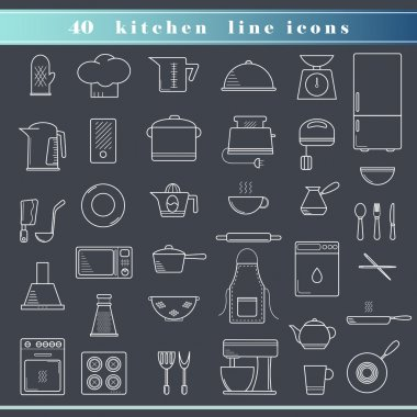 Set of kitchen outline thin line icons for food preparation