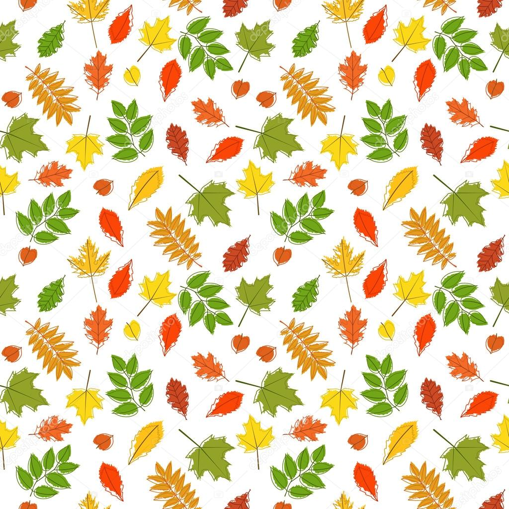 Vector seamless pattern with colorful autumn leaves.