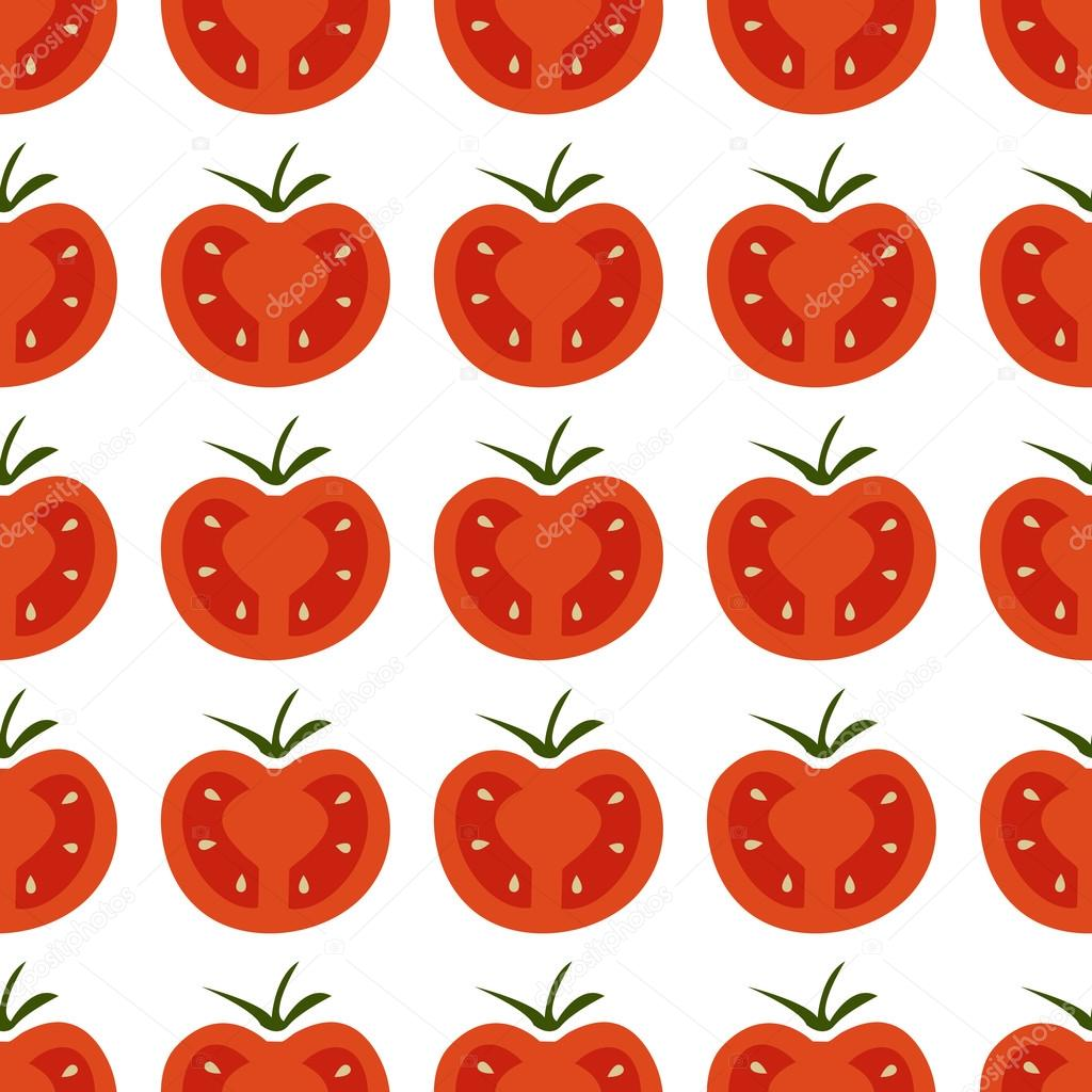 Seamless pattern with fresh red and yellow cherry tomatoes on the white