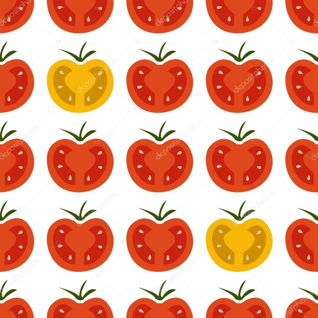 Seamless pattern with fresh red and yellow cherry tomatoes on wh