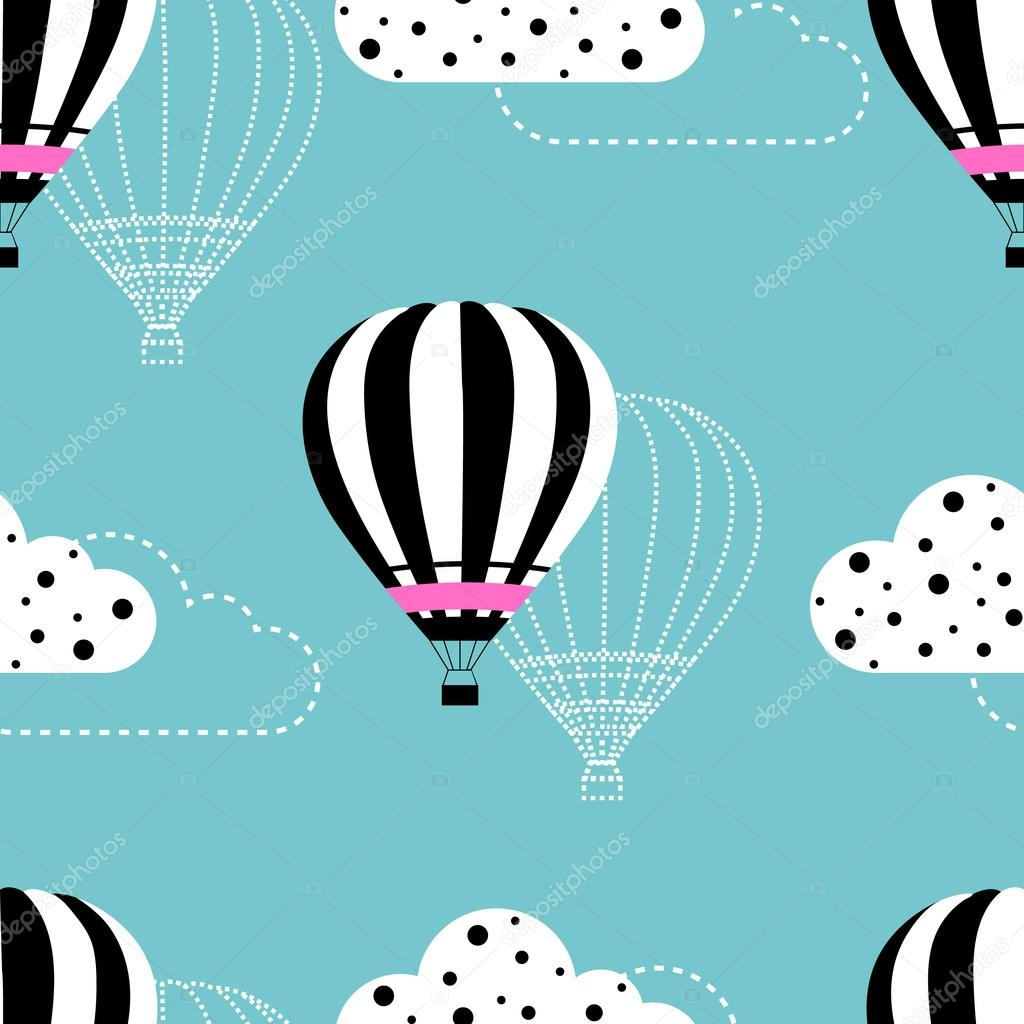 Seamless hot air balloon with clouds on the sky