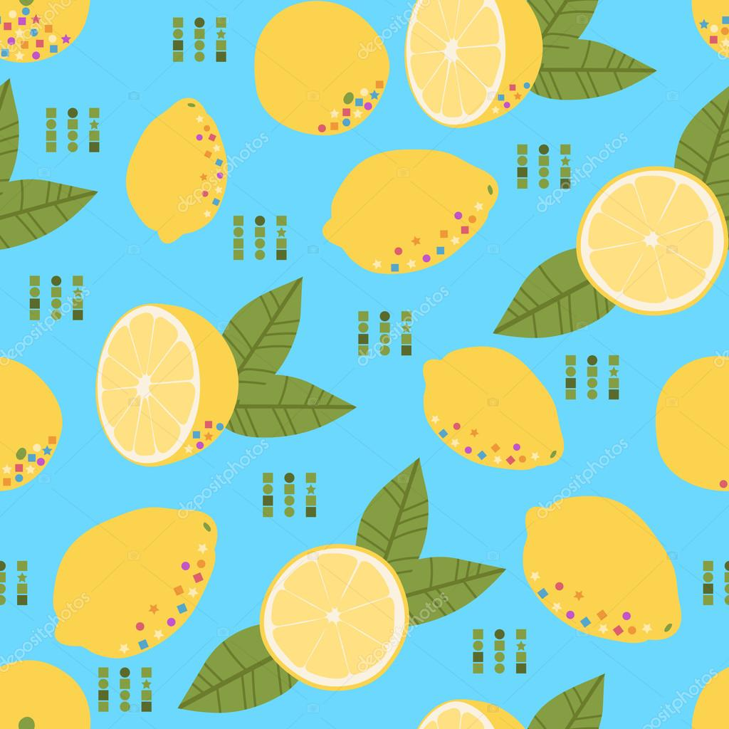 Pattern with fresh yellow lemon and green leaves on the blue background