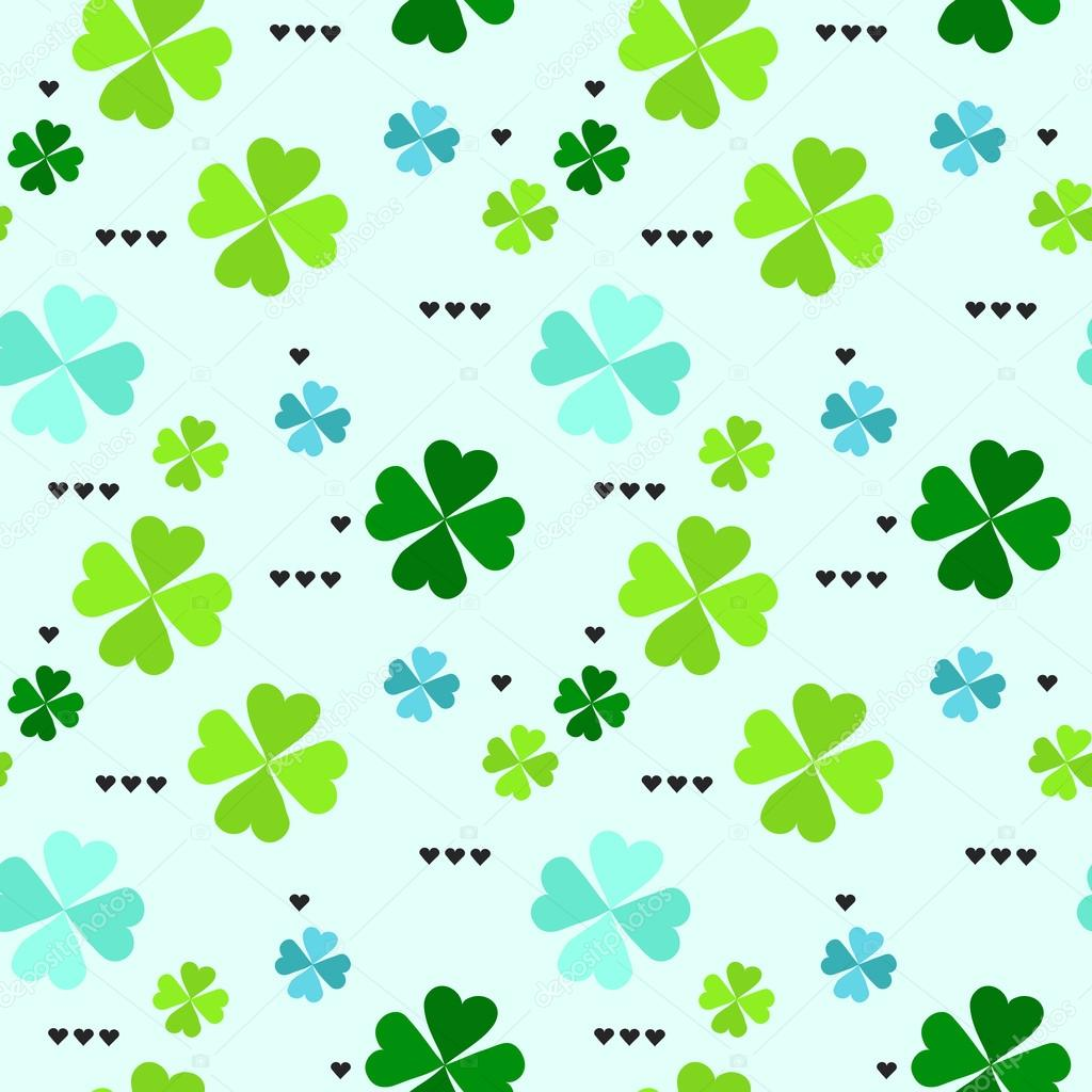 pattern with four leaf clover leaves ストックベクター