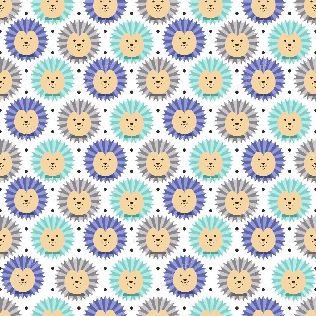 Hedgehog seamless pattern