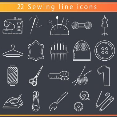 Sewing thin line icons