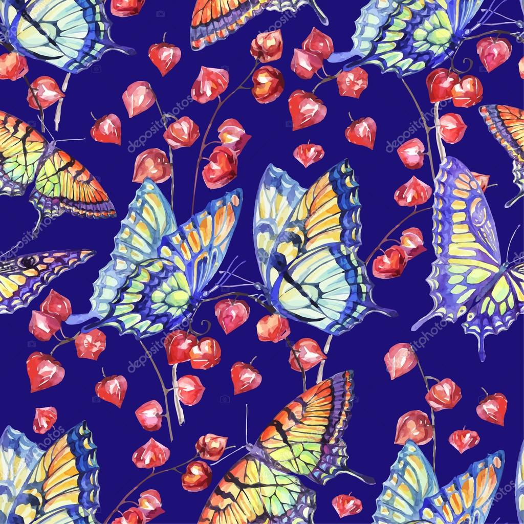 Vector Watercolor Swallowtail Butterfly. Seamless Pattern