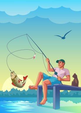 fisherman caught a fish
