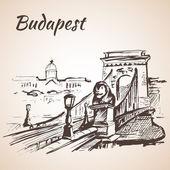 Fényképek Lánchíd - Budapest, Magyarország. Elszigetelt fehér background