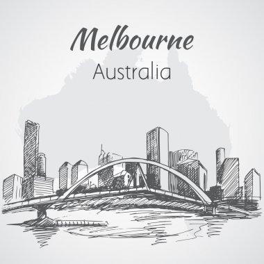 Melbourne city scape sketch - Australia.